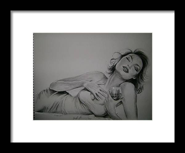 Portrait Framed Print featuring the drawing  The Taste Of The Wine by Oksana Franklin