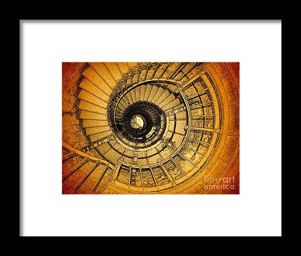 Lighthouse Stairs Framed Print featuring the photograph  To The Top by Jacklyn Duryea Fraizer