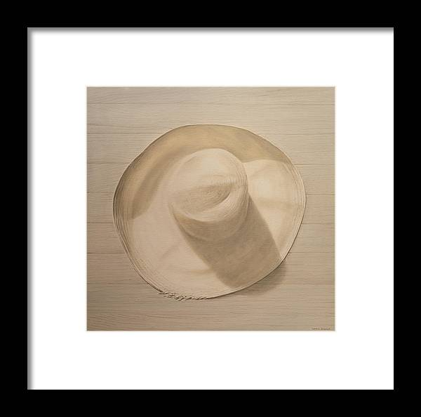 Still Life; Straw Hat; Sun Hat; Clothing; Monochrome Framed Print featuring the painting Travelling Hat On Dusty Table by Lincoln Seligman