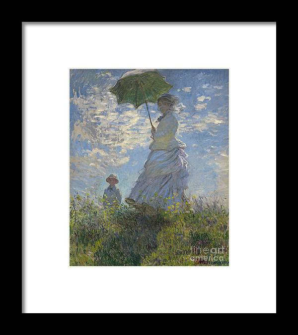 Female; Male; Boy; Child; Hill; Walking; Walk; Stroll; Summer; Outdoors; Mother; Hat; Impressionist; Artists Framed Print featuring the painting Woman with a Parasol Madame Monet and Her Son by Claude Monet