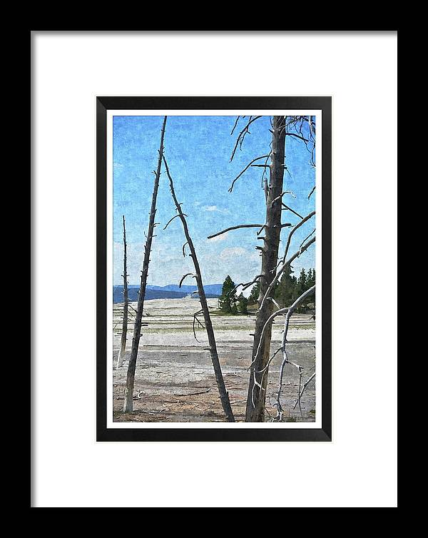 Yellowstone Park Framed Print featuring the painting Yellowstone Park by Larry Stolle
