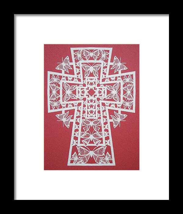 Beliefs Framed Print featuring the mixed media 045 Butterfly-cross by Tong Steinle