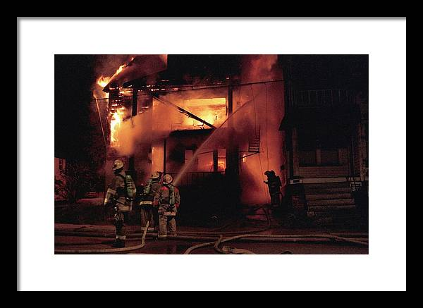 Fire Framed Print featuring the photograph 071506-4 Cleveland Firefighters On The Job by Mike Davis