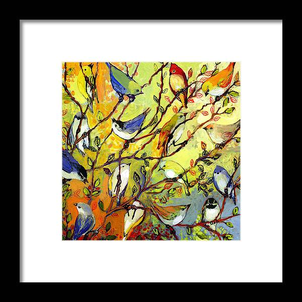 Bird Framed Print featuring the painting 16 Birds by Jennifer Lommers