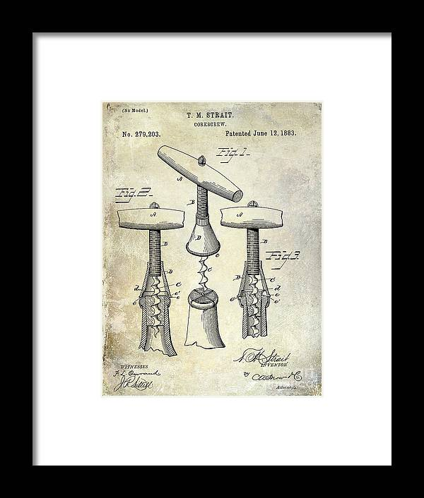 Corkscrew Framed Print featuring the photograph 1883 Corkscrew Patent Drawing by Jon Neidert