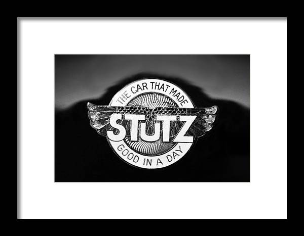 1925 Stutz Series 695h Speedway Six Torpedo Tail Speedster Emblem Framed Print featuring the photograph 1925 Stutz Series 695h Speedway Six Torpedo Tail Speedster Emblem by Jill Reger
