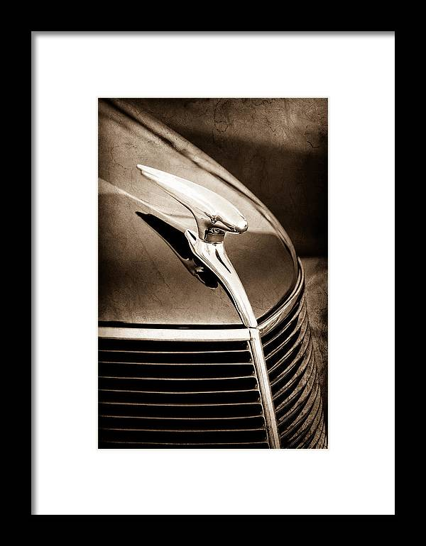 1937 Ford Hood Ornament Framed Print featuring the photograph 1937 Ford Hood Ornament by Jill Reger