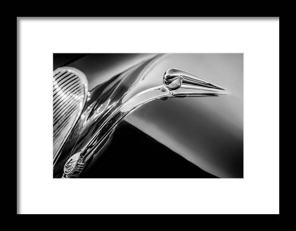 1941 Lincoln Contitnental Convertible Hood Ornament Framed Print featuring the photograph 1941 Lincoln Contitnental Convertible Hood Ornament - Grille Emblem -0438bw by Jill Reger