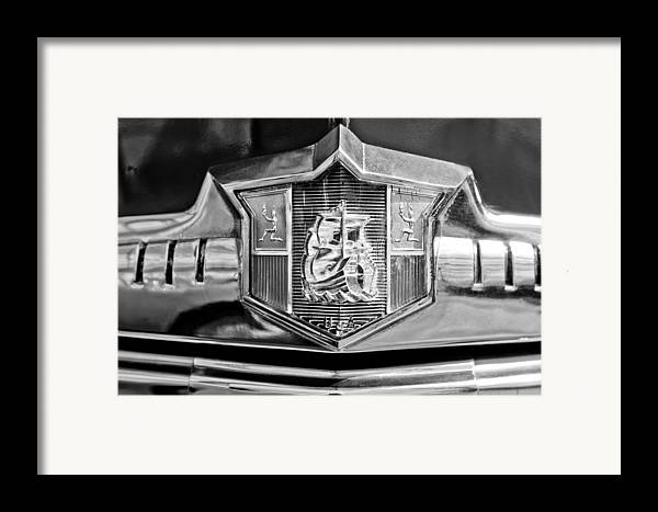 1949 Plymouth P-18 Special Deluxe Convertible Emblem Framed Print featuring the photograph 1949 Plymouth P-18 Special Deluxe Convertible Emblem by Jill Reger