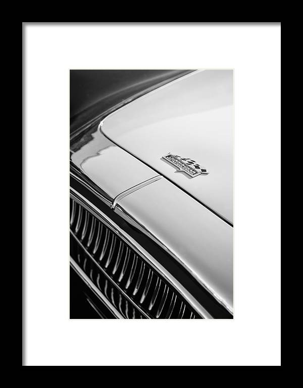 1952 Cunningham C-3 Coupe Hood Emblem Framed Print featuring the photograph 1952 Cunningham C-3 Coupe Hood Emblem by Jill Reger