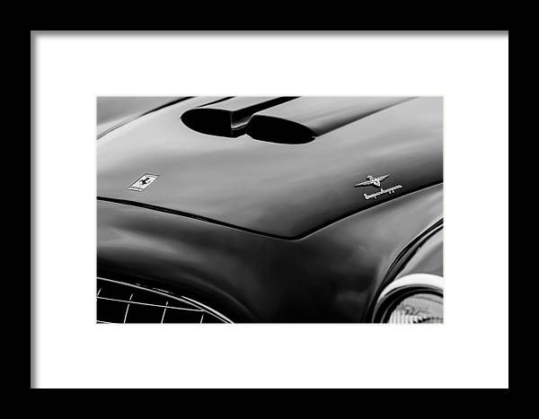 1952 Ferrari 212 225 Barchetta Hood Emblems Framed Print featuring the photograph 1952 Ferrari 212 225 Barchetta Hood Emblems by Jill Reger