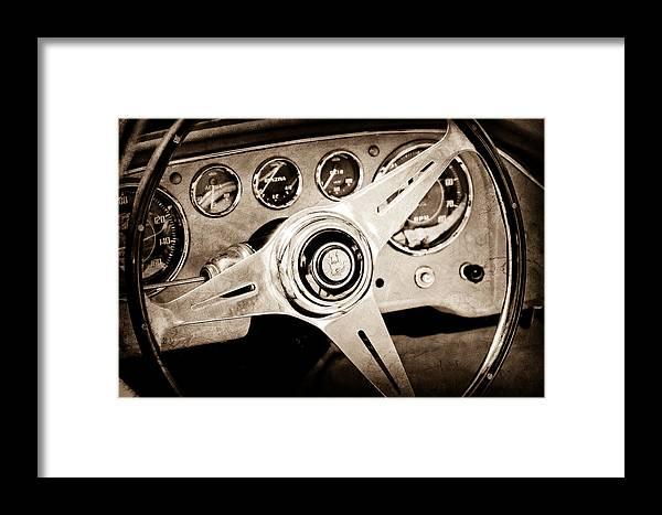 1960 Maserati Steering Wheel Emblem Framed Print featuring the photograph 1960 Maserati Steering Wheel Emblem by Jill Reger