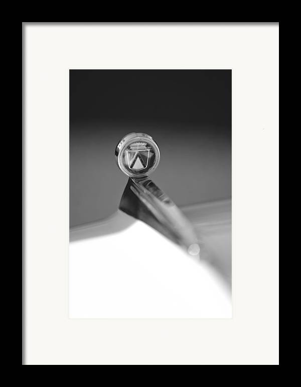 1963 Ford Futura Hood Ornament. Black And White Framed Print featuring the photograph 1963 Ford Futura Hood Ornament by Jill Reger