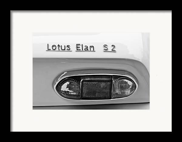 1965 Lotus Elan S2 Taillight Emblem Framed Print featuring the photograph 1965 Lotus Elan S2 Taillight Emblem by Jill Reger