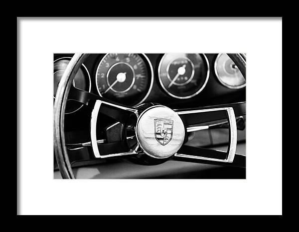 1967 Porsche 911 Coupe Steering Wheel Emblem Framed Print featuring the photograph 1967 Porsche 911 Coupe Steering Wheel Emblem by Jill Reger