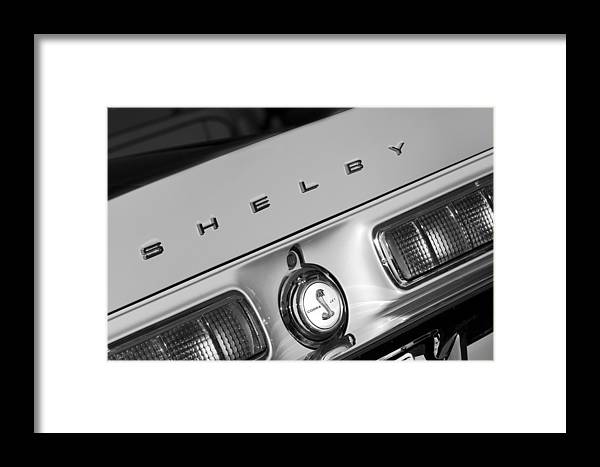 1968 Shelby Gt500 Kr Fastback Rear Emblem - Taillights Framed Print featuring the photograph 1968 Shelby Gt500 Kr Fastback Rear Emblem - Taillights by Jill Reger