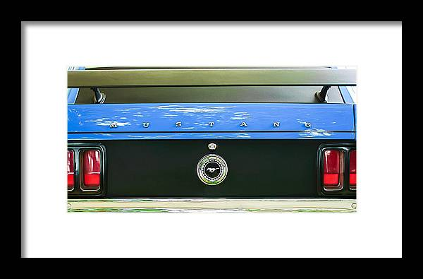 1970 Ford Mustang Boss 302 Fastback Taillight Emblem Framed Print featuring the photograph 1970 Ford Mustang Boss 302 Fastback Taillight Emblem by Jill Reger