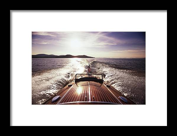 Scenics Framed Print featuring the photograph A Classic Wooden Chris-craft Two Co-pit by Dave Shafer