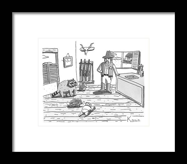 Baby Framed Print featuring the drawing A Cowboy Looks On At A Group Including A Baby 1 by Zachary Kanin
