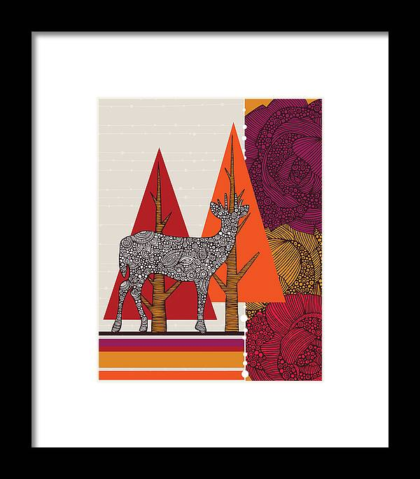 Illustration Framed Print featuring the photograph A Deer In Woodland by Valentina Ramos