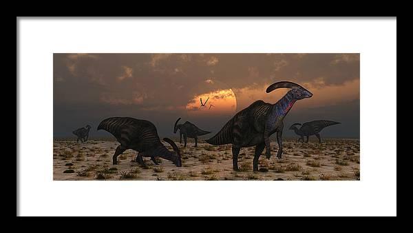 Dusk Framed Print featuring the photograph A Herd Of Parasaurolophus Dinosaurs by Mark Stevenson
