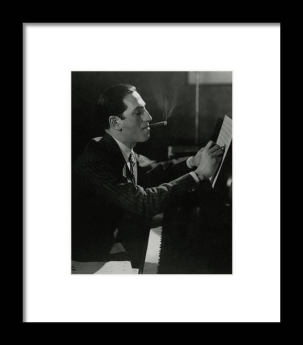 Music Framed Print featuring the photograph A Portrait Of George Gershwin At A Piano by Edward Steichen