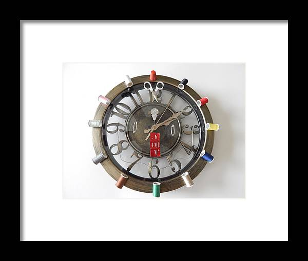 Clock Framed Print featuring the photograph A Stitch N Time by Terry Baker