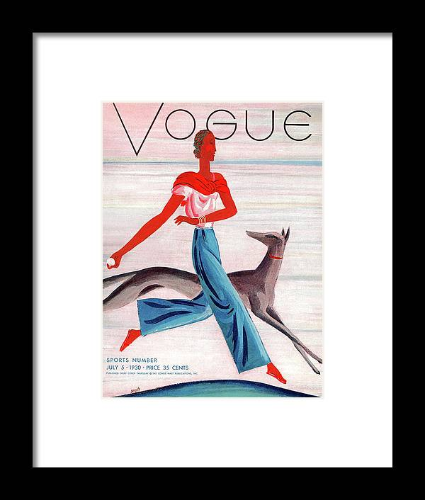 Illustration Framed Print featuring the photograph A Vintage Vogue Magazine Cover Of An African by Eduardo Garcia Benito