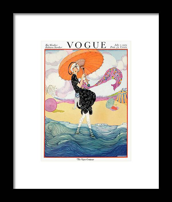 Illustration Framed Print featuring the painting A Vogue Cover Of A Woman On A Beach by Helen Dryden