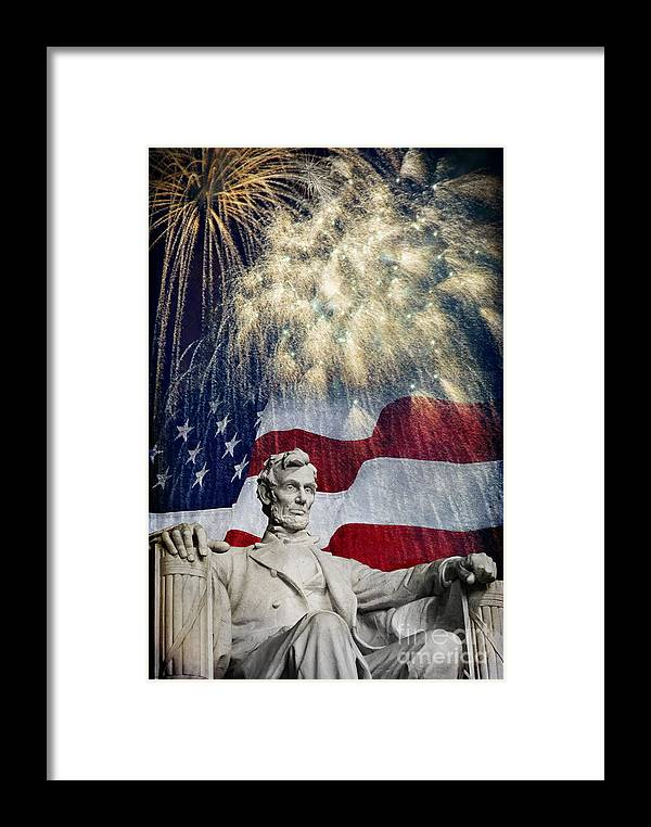Lincoln Framed Print featuring the photograph Abraham Lincoln Fireworks by Michael Shake