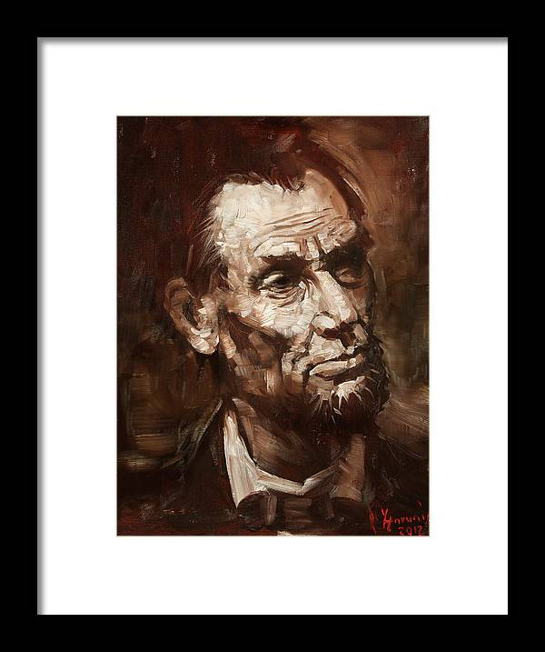 Abraham Lincoln Framed Print featuring the painting Abraham Lincoln by Ylli Haruni