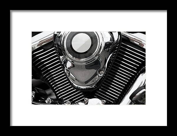 Vehicle Part Framed Print featuring the photograph Abstract Motorcycle Engine by Andrew Dernie