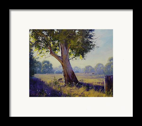 Farm Framed Print featuring the painting Afternoon Light Grazing by Graham Gercken