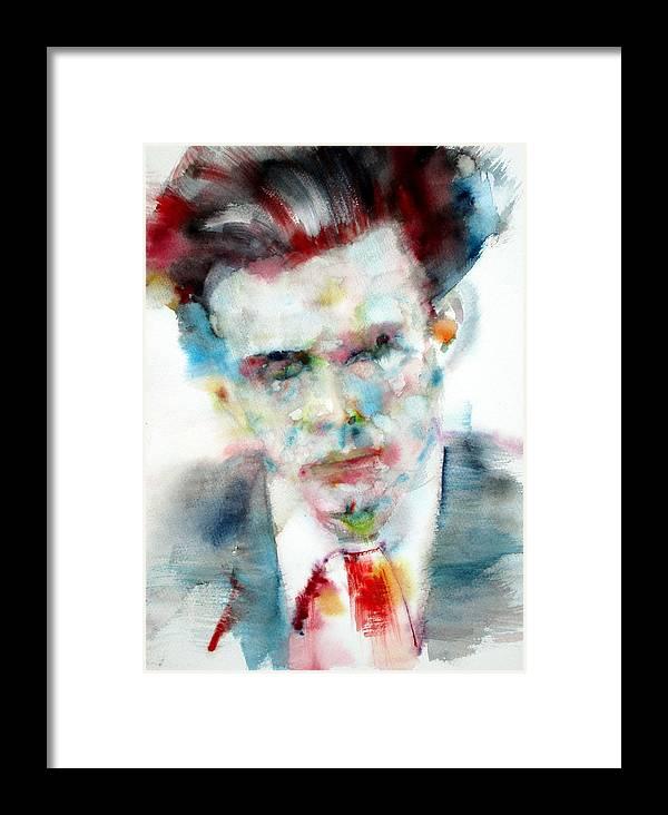 Aldous Huxley Framed Print featuring the painting Aldous Huxley - Watercolor Portrait by Fabrizio Cassetta