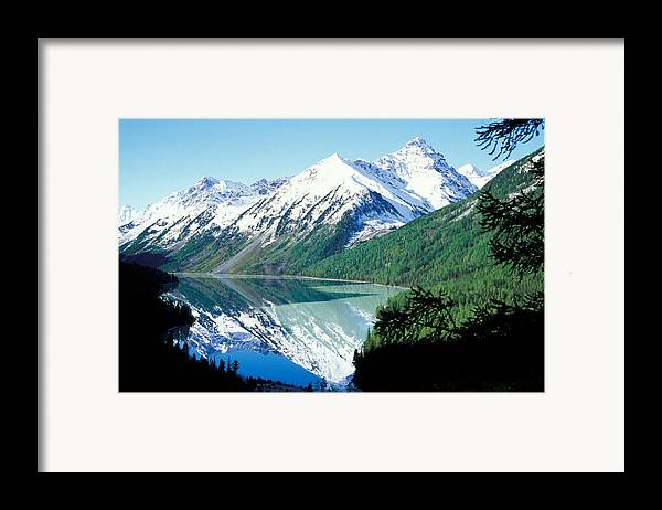 Forestland; Hills & Mountains; Landscape; Nature; Nobody; Outdoors; Outside; River; Scenery; Scenic; Scenics; Snow; Trees; Water; Woodland Framed Print featuring the photograph Altai Mountains by Anonymous