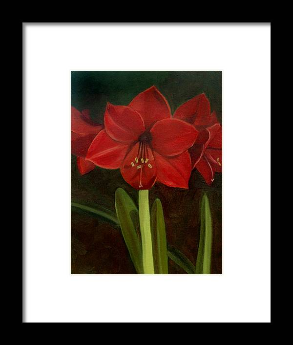 Amaryllis Framed Print featuring the painting Amaryllis by Nancy Griswold