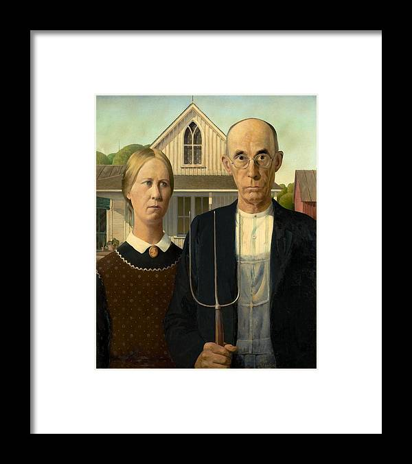 Grant Wood Framed Print featuring the painting American Gothic by Grant Wood