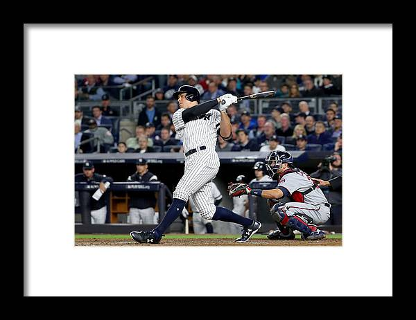 Playoffs Framed Print featuring the photograph American League Wild Card Game - Minnesota Twins v New York Yankees by Al Bello