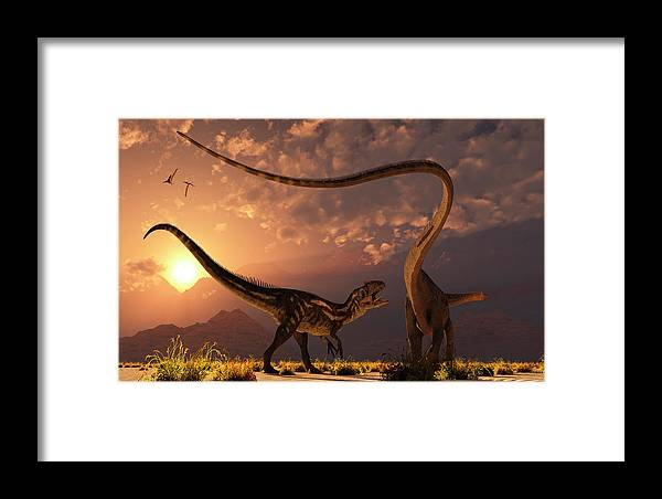 Horizontal Framed Print featuring the photograph An Allosaurus In A Deadly Battle by Mark Stevenson