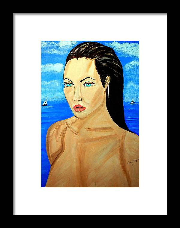 Angelina Jolie Framed Print featuring the painting Angelina Jolie by Nora Shepley