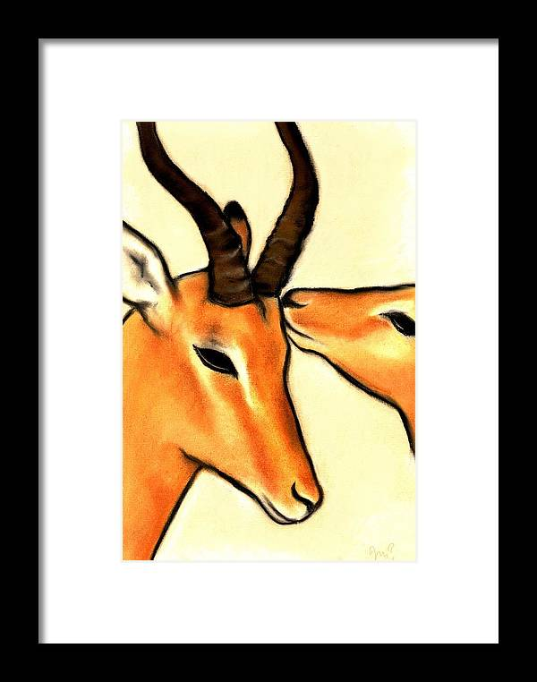 Antelope Framed Print featuring the pastel Antelope Kiss by Victoria Macdonald