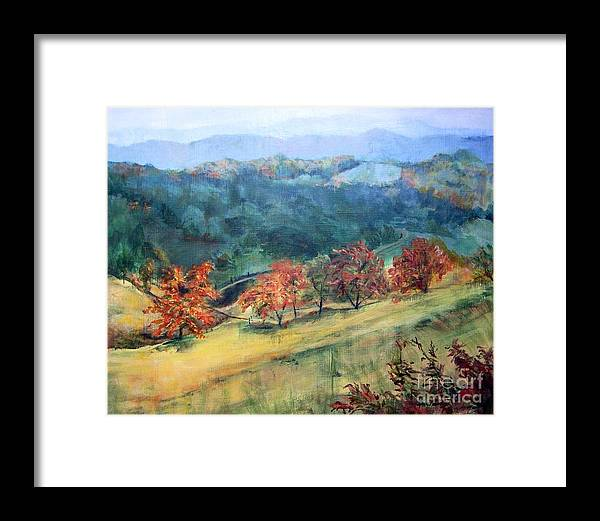 Mountain Landscape Framed Print featuring the painting Appalachian Autumn by Mary Lynne Powers