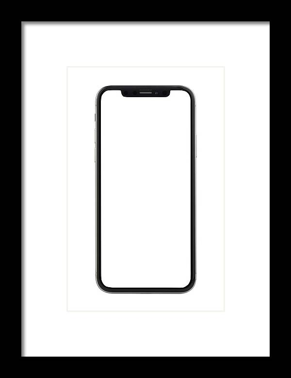 Corporate Business Framed Print featuring the photograph Apple iPhone X Silver White Blank Screen by Bombuscreative