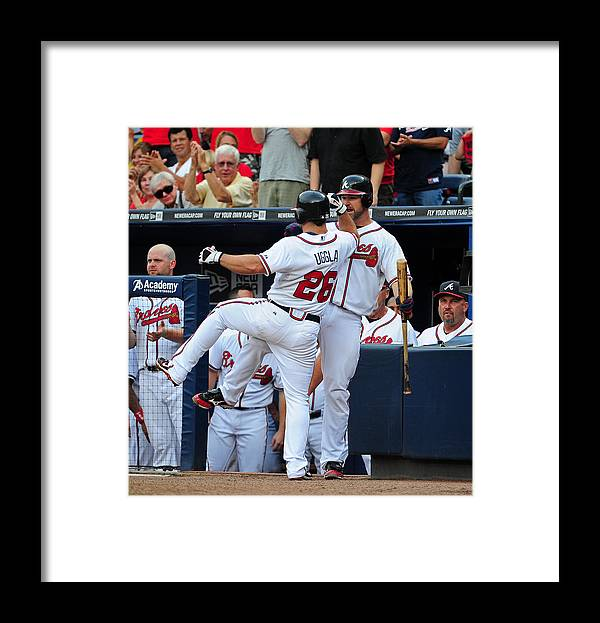 Atlanta Framed Print featuring the photograph Arizona Diamondbacks v Atlanta Braves by Scott Cunningham