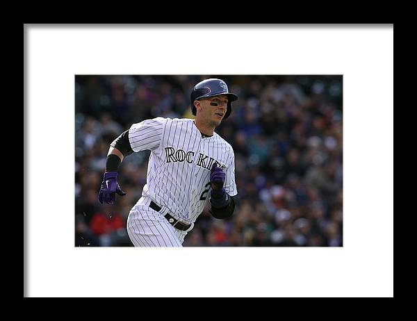 Shortstop Framed Print featuring the photograph Arizona Diamondbacks V Colorado Rockies 1 by Doug Pensinger