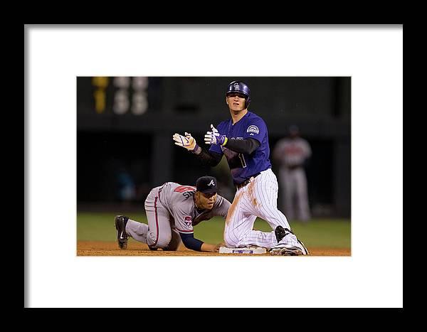 Celebration Framed Print featuring the photograph Atlanta Braves V Colorado Rockies 1 by Justin Edmonds
