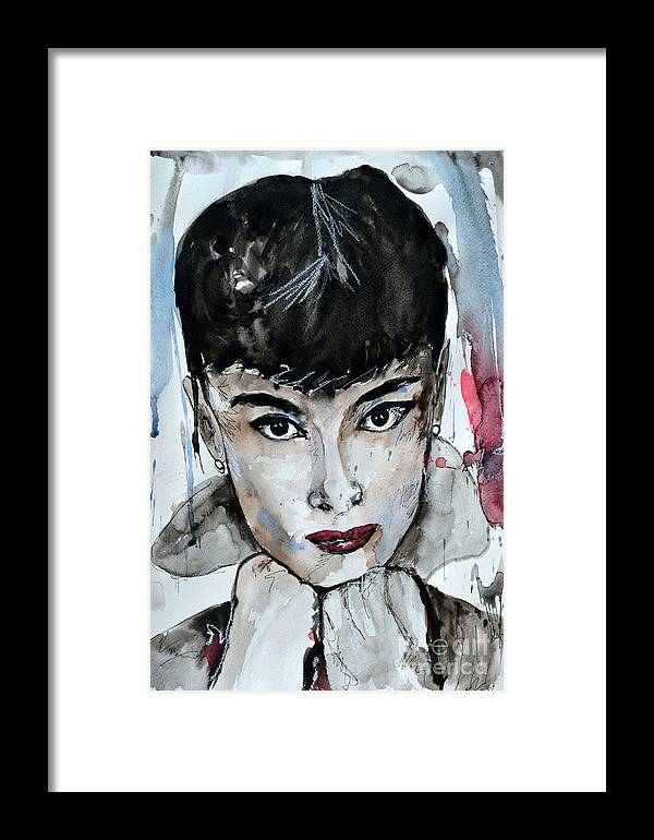 Portrait Framed Print featuring the painting Audrey Hepburn - Abstract Art by Ismeta Gruenwald
