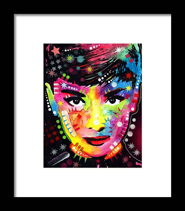 Audrey Hepburn Framed Print featuring the painting Audrey Hepburn by Dean Russo Art