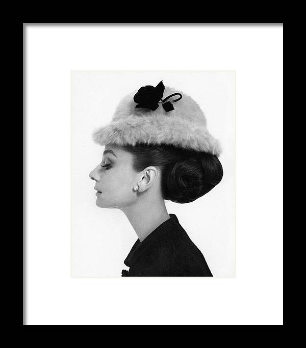 Audrey Hepburn Wearing A Givenchy Hat Framed Print