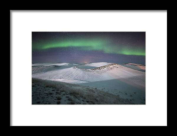 Scenics Framed Print featuring the photograph Aurora, Myvatn, Iceland by David Clapp
